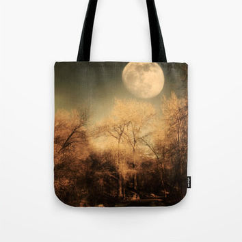 Art Tote beach Bag Full Moon photography Fashion photograph photo sky Gothic dark brown trees art nature steampunk landscape woods woodlands