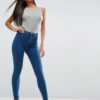 ASOS RIVINGTON High Waist Denim Jeggings in New Blair Dark Wash at asos.com