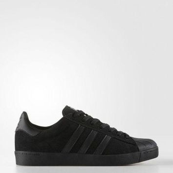 DCCK8X2 Adidas Skateboarding Superstar Vulc ADV Shoes Black / Black BY3939 MSRP