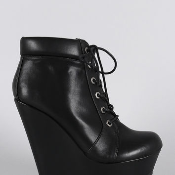 Bamboo Oxford Lace Up Platform Wedge Booties