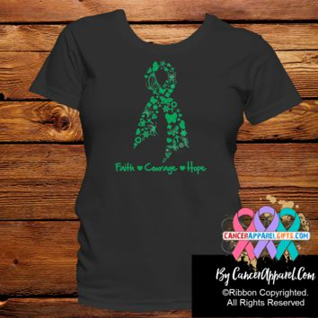 Liver Cancer Faith Courage Hope Ribbon Shirts