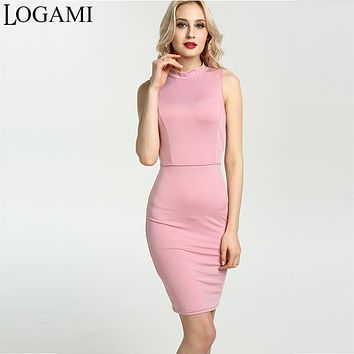 Sexy Dress Women Party Dresses Short 2017 Open Back High Neck Sleeveless Bodycon Casual Midi Dress