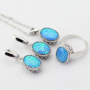 DCCKLG2 Vintage Blue Opal Jewelry Sets Silver Plated Choker Necklace Drop Earrings Rings