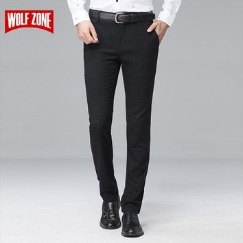 Men Pants Formal Fit Mid Business Casual Suit Full Length Stretch Office Wedding Men Trousers