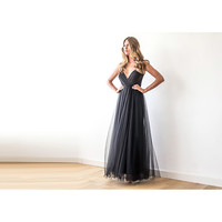 Black Straps Wrap Tulle Maxi Gown, Bridesmaids Black Strap Dress