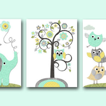 Kids Wall Art Canvas Nursery Art Print Elephant Nursery Giraffe Nursery Children Wall Art Baby Room Decor Kids Print set of 3 Gray Yellow /