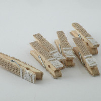 Clothespins wood 3 inches clip style, wooden clothespins, burlap pegs, lace clothes pegs, clothes pins, wedding pegs