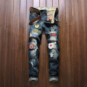Ripped Holes Fashion Slim Pants Jeans [1922679701597]