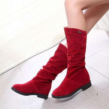 Autumn Winter Women's Boots Matte Flock Boots For Female Ladies Height Increased Low Heel Shoes Woman Mid Calf High Boots 400805