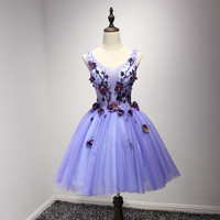 Lovly Fashion Purple Short Prom Gown 2017 Girl's Beach Wedding Dresses Women Short Mini Prom Paty Dress Cocktail Homecing Dresses Customize
