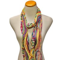 Amazon.com: Pink Blue & Yellow Swirl Printed Long Crinkled Lightweight Scarf: Clothing