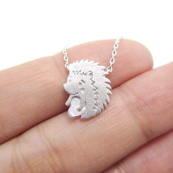 Cute Baby Hedgehog Porcupine Shaped Animal Charm Necklace in Silver