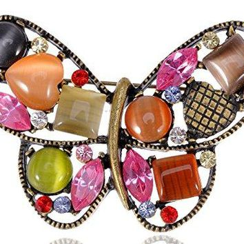 Alilang Multicolored Rhinestone Enamel Paint Butterfly Insect Wings Brooch Pin