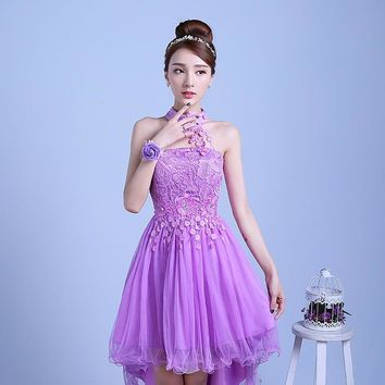PTH-D48ZS#2016 new summer short long before after shortparagraph bride bridesmaid dresses wedding dress female toast Red violet