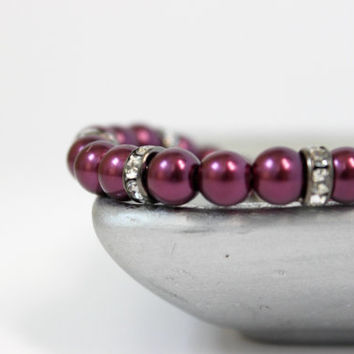 Dark Plum and Gunmetal Faux Pearl and Crystal Beaded Bracelet - Handmade Bridal Wedding Jewelry - Ready to Ship