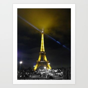 saturday night tower Art Print by Mr Splash