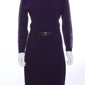 ST JOHN Vintage Wool Embellished Eggplant Knit Dress Size 8