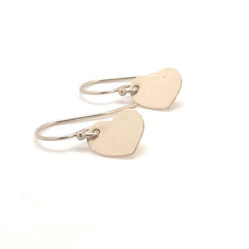 Gold Heart Earrings, 14K Gold Filled, Everyday Jewelry, Valentine's Day, Heart Jewelry, Gifts for her, Handmade Earrings, Small Dangle