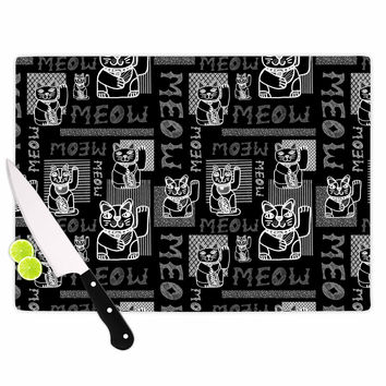 """Jane Smith """"Meow Repeat"""" Black White Cutting Board"""