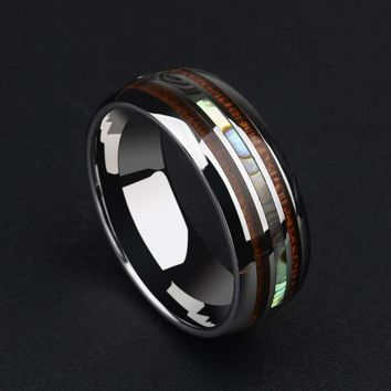 New Arrival 8MM Tungsten Man's Ring Dome Band Inlay Koa Wood and Two PCS Mother of Pearl for Man's Wedding/Party Jewelry 7-12