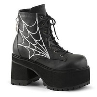 Demonia Ranger Spider Web Ankle Boots