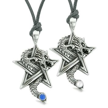 Courage Dragons Star Pentacle Amulet Couples Best Friends White Blue Simulated Cats Eye Necklaces