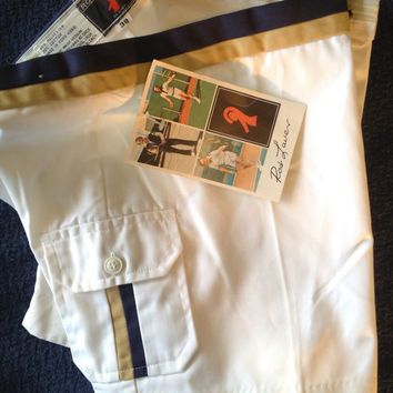 Vintage Rod Laver Tennis Shorts New Old Stock Short Shorts White with Navy/Khaki Trim c.1970s