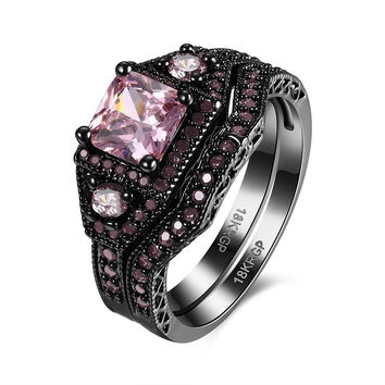 MYSTIC BLACK ENGAGEMENT RINGS SET FOR BRIDAL GIFT CUTE WOMEN AAA+ PINK ZIRCONIA CZ WEDDING RING JEWELRY FREE SHIPPING
