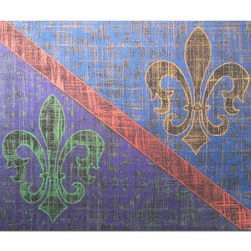 Fleur de Lis parti- colored in Mardi Gras colors giclee print or metallic reproduction prints of original painting, choice of sizes