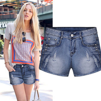 Summer Ripped Holes Fashion Slim Tassels Lace Denim Shorts [6328869697]
