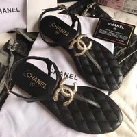 Chanel Flip Flops Front Big Logo Women Casual Fashion Sandal Slipper Shoes Black