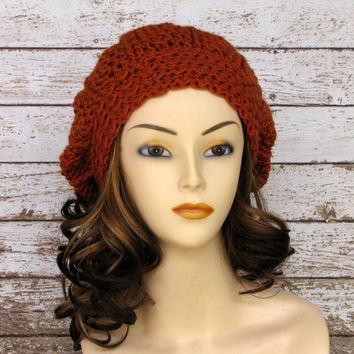 On Sale Crocheted Slouch Hat Pumpkin Slouchy by CreativeDragonfly