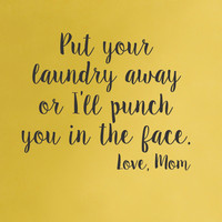 Laundry room wall decal - Love Mom