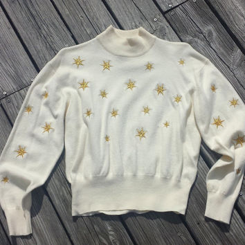 Vintage Women's Sweater - Cream Ivory Sweater Gold Stars - Ugly sweater - Sz M