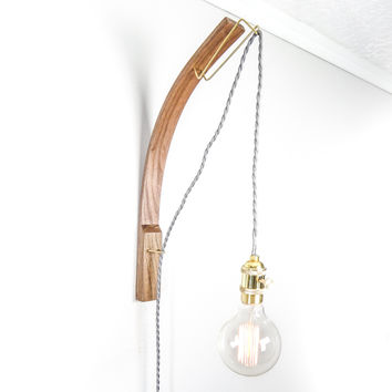 W/S Bent Walnut Pendant Edison Lamp