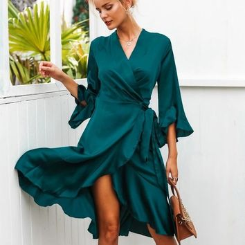 Green Sexy Satin Dress