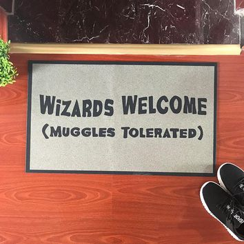 Autumn Fall welcome door mat doormat Funny  You shall Not Pass Carpet Entrance Rug Welcome Mats For Front Door Harry Potter Wizards Welcome Muggles Tolerated- AT_76_7