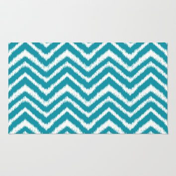 Ikat Chevron: Teal Area & Throw Rug by Eileen Paulino