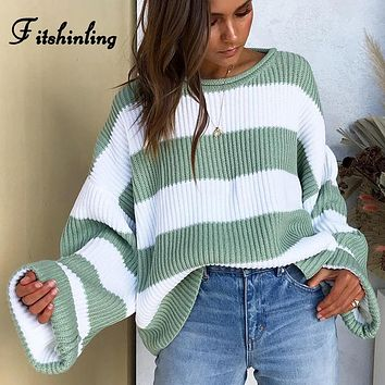 In the Baggie Striped & Loose Pullover Sweater