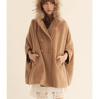 Korean Fashion Faux Fur Hoodie Women Batwing Sleeve Wool Blends Khaki Free Size Outfit @H4247
