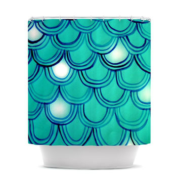 "Theresa Giolzetti ""Mermaid Tail"" Teal Blue Shower Curtain"