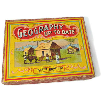 Antique Toy Card Game - Geography Up To Date, Parker Brothers, Salem, Massachusetts, Original Box, Rare Excellent Condition, Directions