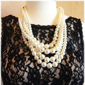 Unique pearl necklace earrings, bridal jewelry set, multi strand pearl necklace, bridesmaids jewelry, pearl jewelry, bridesmaid necklace