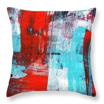 Turquoise And Red Abstract Painting Throw Pillow