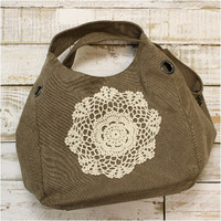 Ready for duty canvas handbag with crochet, purse, bag, pocketbook | H4