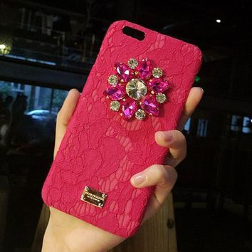 Lace Luxury drill iPhone Phone Cover Case For iphone 6 6s 6plus 6s-plus 7 7plus