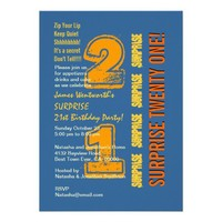 SURPRISE 21st Modern Birthday Blue Gold Orange Custom Invitation from Zazzle.com