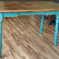SOLD!!!  Anthropologie Style Rustic Chic Turquoise Dining/Kitchen Table