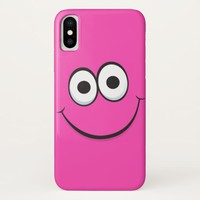 Pink smiley face funny cartoon iPhone x case