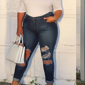 Blue Cut Out Buttons Pockets Destroyed Plus Size High Waisted Mom Boyfriend Long Jeans